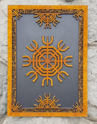 AEGISHJALMUR HELM OF AWE, ICELANDIC MAGICAL RUNE, WALL DECORATION - WOODEN STATUES, PLAQUES, BOXES