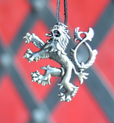 HERALDIC TWO-TAILED LION, PENDANT, SILVER PLATED - ANIMAL PENDANTS