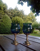 BLUE HUE, GOBLET 150 ML, BLUE GLASS AND PEWTER - HISTORICAL GLASS