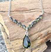 MITHRA, LUXURY STERLING SILVER NECKLACE WITH MOLDAVITES AG 925 - MOLDAVITES, CZECH JEWELS