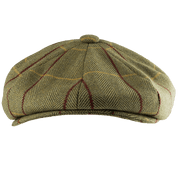 WOOL BLEND BAKER BOY HAT TWEED GREEN - HÜTE AUS IRLAND