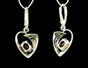 ROWAN, CELTIC STERLING SILVER EARRINGS, GARNET - MYSTICA SILVER COLLECTION - EARRINGS