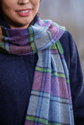 PURPLE HERITAGE BLOCK WINDOWPANE SCARF - FOXFORD, IRELAND - WOOLEN BLANKETS AND SCARVES, IRELAND