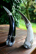 ART NOUVEAU DRINKING HORN WITH MASKARON, PEWTER - HORNS WITH TIN