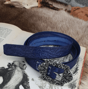 ALBA, SCOTTISH LEATHER BELT BLUE - BELTS