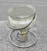MEDIEVAL GLASS, GLASS WITH FORGED IRON STAND - HISTORICAL GLASS