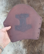 LEATHER BRACER WITH THOR'S HAMMER, BROWN - LEATHER ARMOUR/GLOVES