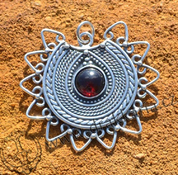 LADA, SLAVIC PENDANT INSPIRATED BY IX. CENTURY MORAVIAN FINDS, AG 925 - FILIGREE AND GRANULATED REPLICA JEWELS