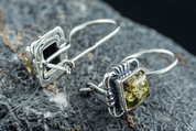VINLAND, SILVER EARRINGS, BALTIC AMBER - AMBER JEWELRY