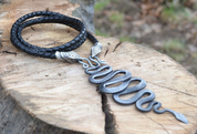 SNAKE, FORGED PENDANT, LEATHER BOLO - CELTIC PENDANTS