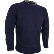 ASHCOMBE 100% LAMBWOOL CREWKNIT NAVY - WOOLEN SWEATERS AND VESTS