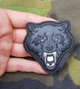 ANGRY WOLF, 3D RUBBER PATCH - MILITARY PATCHES