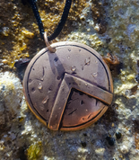 SPARTAN SHIELD, BRONZE PENDANT - PENDANTS, NECKLACES