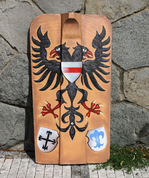 HAND PAINTED PAVISE, LONG WOODEN SHIELD EAGLE - PAINTED SHIELDS