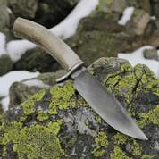 WYATT, BOWIE KNIFE WITH ANTLER, HAMON HARDENING - KNIVES