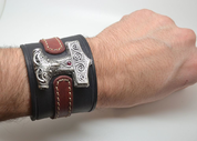 VIKING LEATHER BRACELET, THOR'S HAMMER - SCANIA - WRISTBANDS