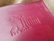 ART NOUVEAU, ART NOUVEAU LEATHER PHOTO ALBUM, BURGUNDY - KEYCHAINS, WHIPS, OTHER
