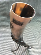DRINKING HORN WITH VENDEL MOTIVES AND FORGED STAND - DRINKING HORNS