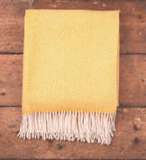 YELLOW HERRINGBONE THROW, MERINO WOOL - WOOLEN BLANKETS AND SCARVES, IRELAND