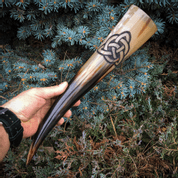 CARVED DRINKING HORN, CELTIC KNOT - DRINKING HORNS
