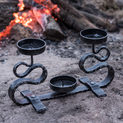 FORGED CANDLEHOLDER, DOUBLE ARM - CANDLESTICKS, FORGED CANDLE HOLDERS