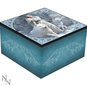 WINTER GUARDIANS - WHITE WOLF, MIRROR BOX, ANNE STOKES - BOXES, PENCIL CASES