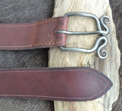 LEATHER BELT WITH SPIRAL FORGED BUCKLE - BELTS