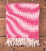 PINK & WHITE STRIPE THROW, IRELAND - WOOLEN BLANKETS AND SCARVES, IRELAND