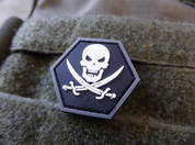 NO FEAR PIRATE HEXAGON, 3D VELCRO PATCH - MILITARY PATCHES