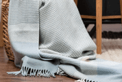 RANDOM GEOMETRY DUSTY BLUE & AQUA THROW, CASHMERE - COUVERTURES ET CHÂLES EN LAINE D'IRLANDE