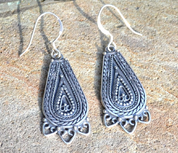LADA, SILVER SLAVIC EARRINGS, AG 925 - FILIGREE AND GRANULATED REPLICA JEWELS
