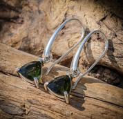 AMBRA, RAW MOLDAVITE EARRINGS, STERLING SILVER - MOLDAVITES, CZECH JEWELS