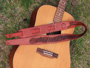 HAND TOOLED LEATHER GUITAR STRAP - BELTS