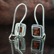 AMBRA, AMBER, SILVER EARRINGS - AMBER JEWELRY
