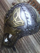 VIKING - DRAGON, FANTASY VIKING HELMET WITH BRASS - VIKINGERHELME