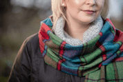 TOMATO HERITAGE BLOCK WINDOWPANE SCARF, IRELAND - WOOLEN BLANKETS AND SCARVES, IRELAND