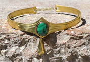 NORICA - MEDIEVAL GOTHIC CROWN WITH MALACHITE - TIARAS, CROWNS