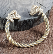 CELTIC BRACELET, BULL'S HEADS, TRICHTINGEN, BRASS - VIKING, SLAVIC, CELTIC BRACELETS - BRONZE AND BRASS