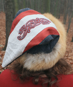 VIKING CAP WITH EMBROIDERY, FOX FUR - VALSGARDE - HATS FOR MEN