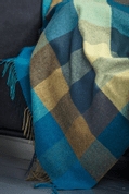 PEACOCK LARGE CHECK THROW, LAMBSWOOL - WOOLEN BLANKETS AND SCARVES, IRELAND