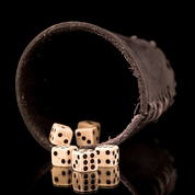 LEATHER DICE CUP BLACK AND 6 BONE DICE - EUROPE