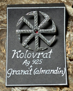 KOLOVRAT WITH GARNET, SILVER SLAVIC COLOVRAT PENDANT, AG 925 - PENDANTS - HISTORICAL JEWELRY