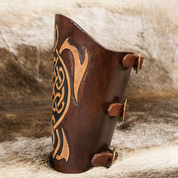 LEATHER BRACER, CELTIC DESIGN - LEATHER ARMOUR/GLOVES