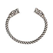 WOLF HEADS, VIKING BRACELET, BURG, GOTLAND, STERLING SILVER, 43 G - RINGS - HISTORICAL JEWELRY