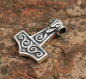 THOR'S HAMMER WITH SPIRALS, SILVER PENDANT - PENDANTS - HISTORICAL JEWELRY