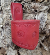 FLOWER, LEATHER DRINKING HORN HOLDER, RED - DRINKING HORNS