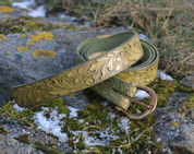 QUERCUS, LEATHER BELT WITH OAK LEAVES, OLIVE GREEN - BELTS