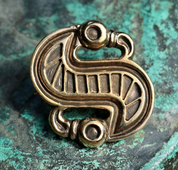 LANGOBARDIC S-SHAPED BROOCH, BRONZE, REPRODUCTION - BRONZE HISTORICAL JEWELS
