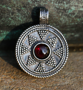 LADOGA, VIKING PENDANT, STERLING SILVER - FILIGREE AND GRANULATED REPLICA JEWELS