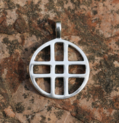 DOUBLE CROSS, SILVER PENDANT - PENDANTS - HISTORICAL JEWELRY